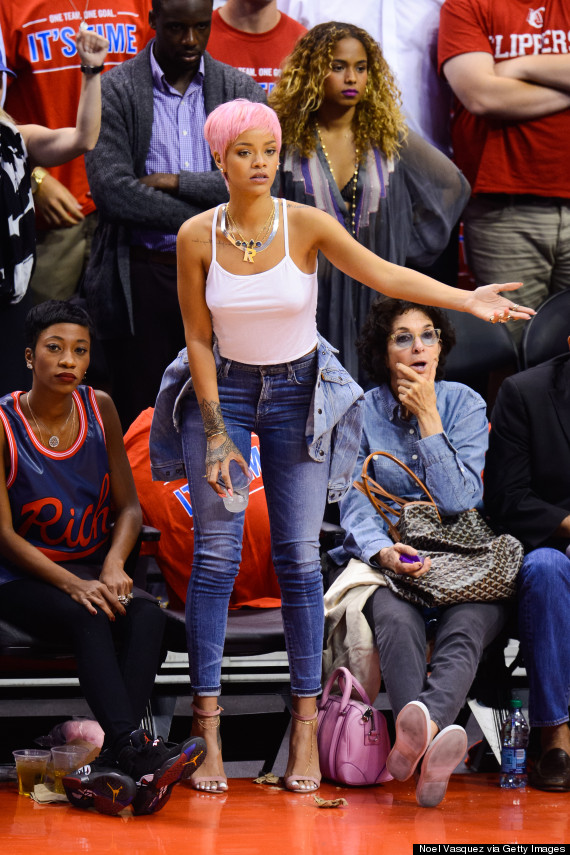 Rihanna Shows Off Shocking Pink Hairstyle At La Basketball
