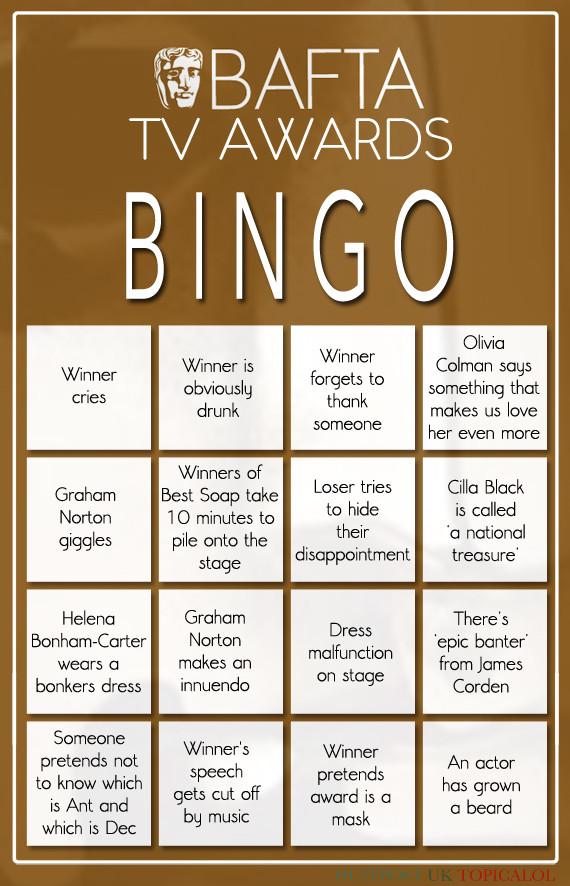 bafta tv awards bingo card