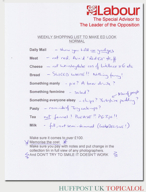 ed miliband weekly shopping list