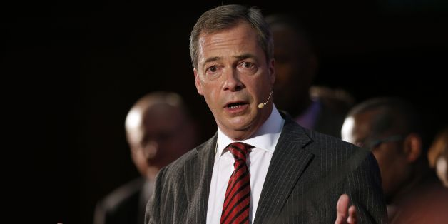 Nigel Farage speaks on stage during a Ukip rally held at the Emmanuel Centre, London.