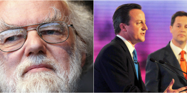 Williams (left) does not approve of televised debates, such as the 2010 broadcast featuring David Cameron, Nick Clegg (right) and Gordon Brown