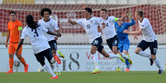 ATTARD, MALTA - MAY 21:  Dominic Solanke (C) of England celebrates with team mates after scoring the opening goal during the UEFA Under17 European Championship 2014 final match between England and Netherlands at Ta' Qali National Stadium on May 21, 2014 in Attard, Malta.  (Photo by Sascha Steinbach/Bongarts/Getty Images)