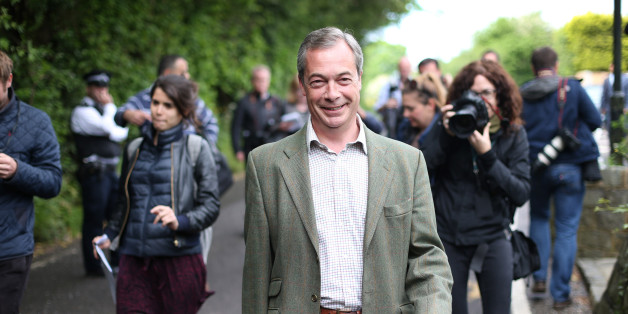 BIGGIN HILL, UNITED KINGDOM - MAY 22:  United Kingdom Independence Party (UKIP) leader Nigel Farage walks home after voting at a polling station on May 22, 2014 near Biggin Hill, England.  Millions of voters are going to the polls today in local and European elections.  (Photo by Peter Macdiarmid/Getty Images)