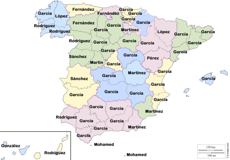 apellido más frecuente en españa provincias