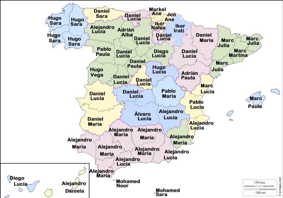 Los nombres y apellidos m s frecuentes en espa a mapas - Nombres clasicos espanoles ...
