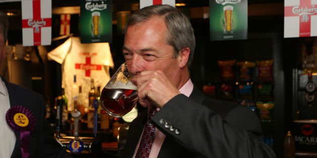 Ukip party leader Nigel Farage enjoys a pint in the Hoy and Helmet Pub in South Benfleet, Essex, as his party make gains across the country following yesterdays voting in local elections.