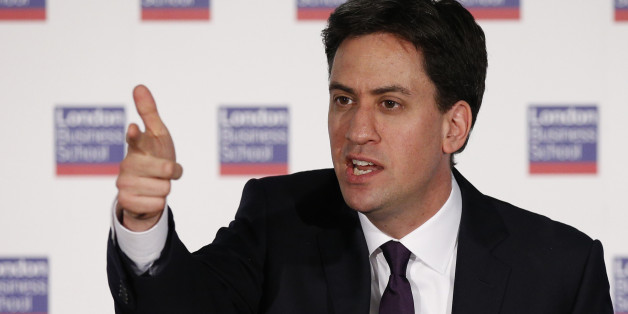 Labour Party Leader Ed Miliband delivers a speech on Britain's future in Europe at the London Business School