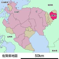 鳥栖市と玄海原発の位置関係図