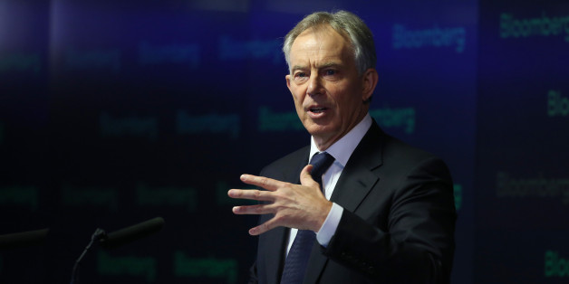 Tony Blair, former U.K. prime minister, speaks during an event at Bloomberg LP's offices in London, U.K., on Wednesday, April 23, 2014. Blair told an audience in London today that governments must overcome their resistance to talking about religion to tackle conflicts in the Middle East and North Africa and engage in 'the essential battle' for global security. Photographer: Chris Ratcliffe/Bloomberg via Getty Images