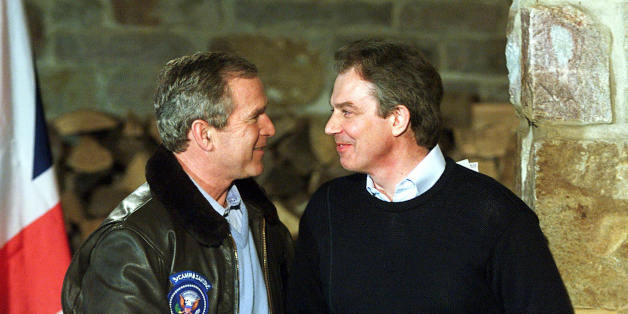 THURMONT, UNITED STATES: (FILES) -- File picture dated 23 February 2001 shows British Prime Minister Tony Blair (R) shaking hands with US President George W. Bush after a joint press conference in Thurmont, Maryland, down the road from the presidential retreat Camp David. Blair announced 10 May 2007 his resignation after a decade in powerr, saying he will stand down at the end of June. He told party suporters in his constituency of Sedgefield that he would step down as Labour leader, and therefo