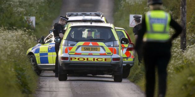 Police at the scene near Coldstream where two people were feared dead after a rally car lost control during the Jim Clark rally