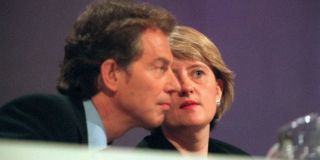 Then Labour Party General Secretary Margaret McDonagh has a quiet word with Tony Blair during the Party's 1998 conference in Blackpool