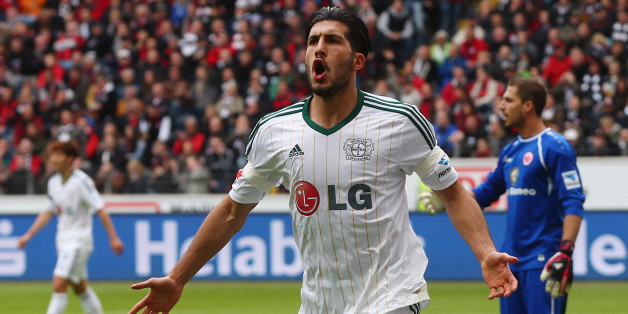 FRANKFURT AM MAIN, GERMANY - MAY 03: Emre Can of Leverkusen celebrates his team's second goal during the Bundesliga match between Eintracht Frankfurt and Bayer Leverkusen at Commerzbank Arena on May 3, 2014 in Frankfurt am Main, Germany.  (Photo by Alex Grimm/Bongarts/Getty Images)