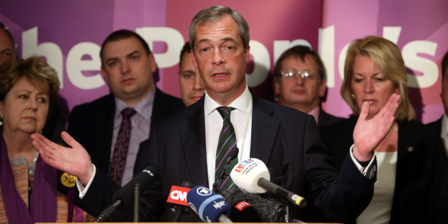 Ukip leader Nigel Farage gives a speech at the Intercontinental Hotel, London, as he celebrates his partyÕs results in the polls for the European Parliament.