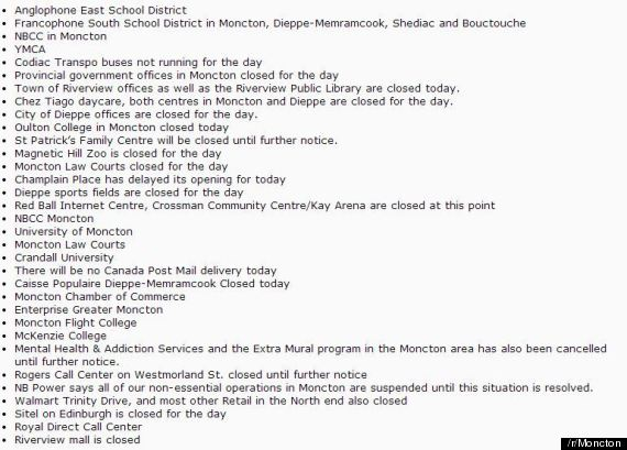 moncton closures