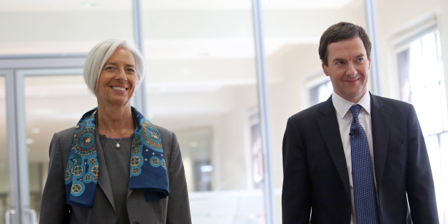 George Osborne, U.K. chancellor of the exchequer, right, and Christine Lagarde, managing director of the International Monetary Fund (IMF), arrive for a news conference at the U.K. Treasury in London, U.K., on Friday, June 6, 2014. The U.K. must act to contain rising house prices as increased indebtedness may pose a risk to the economic recovery, the International Monetary Fund said. Photographer: Chris Ratcliffe/Bloomberg via Getty Images