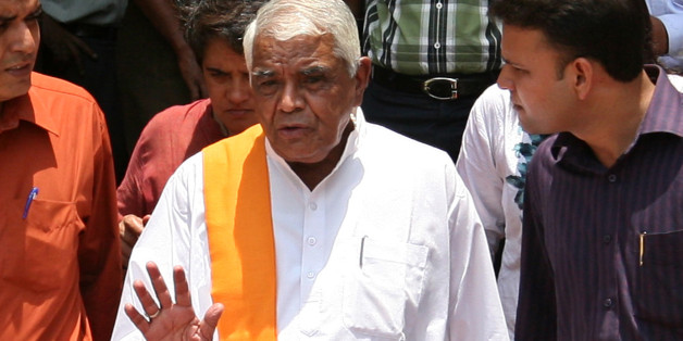 NEW DELHI, INDIA � JUNE 21:  Former Madhya Pradesh Chief Minister Babulal Gaur comes out after a meeting  of the Group of Ministers (GoM) on the Bhopal gas tragedy in New Delhi on June 21, 2010. (Photo by Shekhar Yadav/India Today Group/Getty Images)