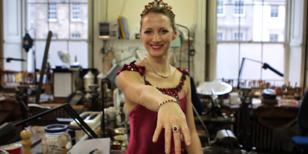 Scottish Ballet dancer Victoria Willard in costume modeling ruby jewellery from Hamilton & Inches in their Edinburgh shop, which was raided by armed robbers