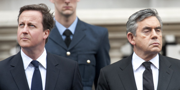 David Cameron and Gordon Brown at a national service of commemoration to mark the 65th anniversary of Victory in Europe Day (VE Day) on Saturday 8 May at the Cenotaph, Whitehall, London.