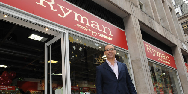 Theo Paphitis outside his Ryman Stationary store on Wardour Street in central London after presents The Duchess of York with a cheque for 13,500 to Children in Crisis.