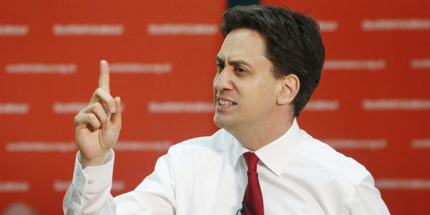 Labour Leader Ed Miliband during a public meeting with local community activists and undecided voters at the Isa Money Centre in Motherwell, Scotland.
