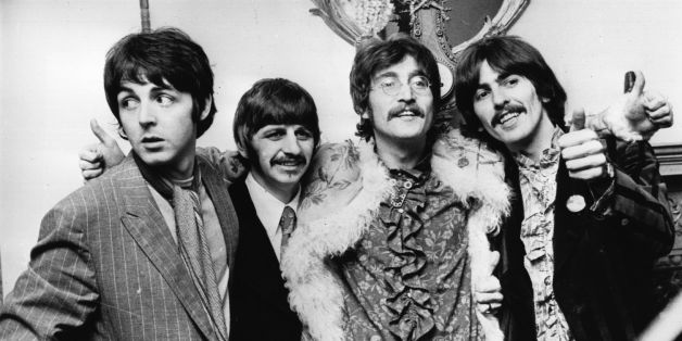 The Beatles celebrate the completion of their new album, 'Sgt Pepper's Lonely Hearts Club Band'. (Photo by John Pratt/Keystone/Getty Images)