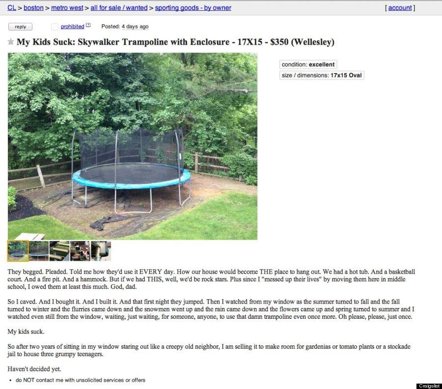 craigslist my kids suck trampoline