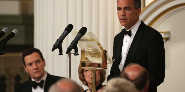 LONDON, ENGLAND - JUNE 12:  Mark Carney, Governor of the Bank of England, speaks at the 'Lord Mayor's Dinner to the Bankers and Merchants of the City of London' as Chancellor of the Exchequer, George Osborne, looks on at the Mansion House on June 12, 2014 in London, England. In his keynote speech the Chancellor is announcing new measures to tackle 'the unacceptable behaviour of the few and ensure that markets are fair for the many who depend on them'.  (Photo by Peter Macdiarmid - WPA Pool /Gett