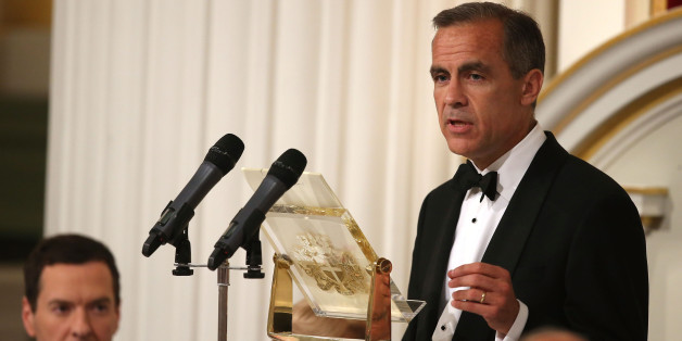 LONDON, ENGLAND - JUNE 12:   Mark Carney, Governor of the Bank of England, speaks at the 'Lord Mayor's Dinner to the Bankers and Merchants of the City of London' as Chancellor of the Exchequer, George Osborne, looks on at the Mansion House on June 12, 2014 in London, England. In his keynote speech the Chancellor is announcing new measures to tackle 'the unacceptable behaviour of the few and ensure that markets are fair for the many who depend on them'.  (Photo by Peter Macdiarmid - WPA Pool /Getty Images)