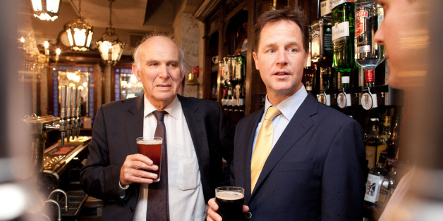LONDON - JUNE 3:  Deputy Prime Minster Nick Clegg shares a pint with Business Secretary Vince Cable, at the Queens Head Pub during a brief visit on June 3, 2014 in Soho, London, England. The pair announced a new code of practice to help Pub landlords. (Photo by Ben Gurr - WPA Pool/Getty Images)