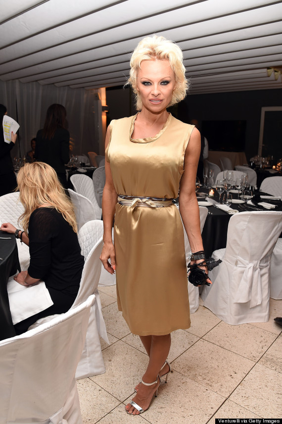 Pamela Anderson Wears An Unflattering Gold Outfit During Gala Dinner ...
