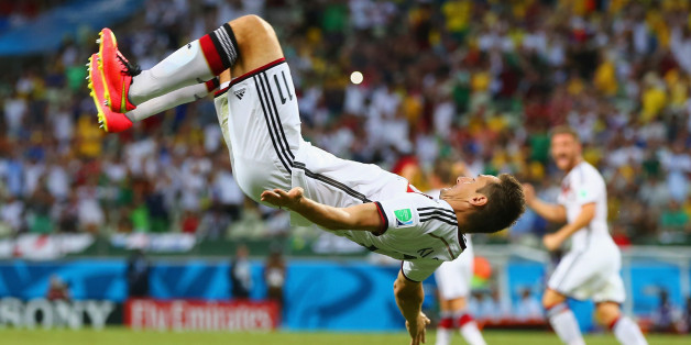 FORTALEZA, BRAZIL - JUNE 21:  Miroslav Klose of Germany does a flip in celebration of scoring his team's second goal during the 2014 FIFA World Cup Brazil Group G match between Germany and Ghana at Castelao on June 21, 2014 in Fortaleza, Brazil.  (Photo by Martin Rose/Getty Images)