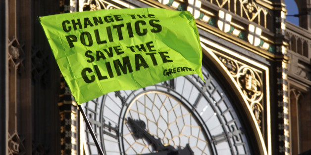 Greenpeace climate change protestors continue their protest on the roof of the House Of Parliament in central London.
