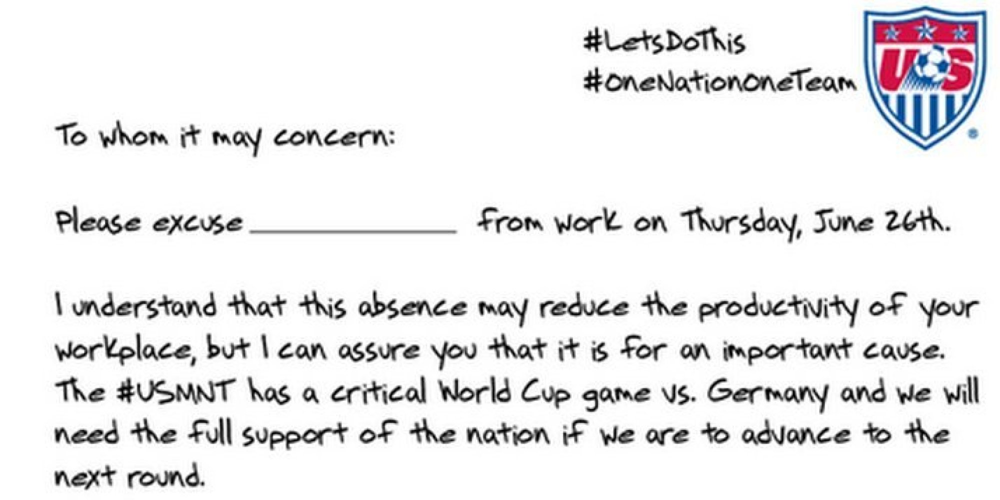 If this note doesnt convince your boss to let you watch the us if this note doesnt convince your boss to let you watch the us soccer game nothing will huffpost thecheapjerseys Choice Image