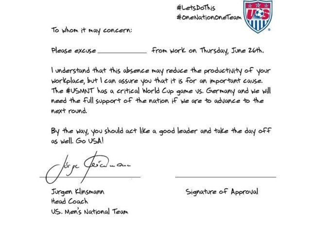 USA   Allemagne : la lettre d'excuse de Jürgen Klinsmann pour les