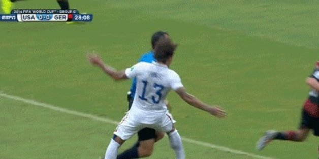 Ref Deserved A Yellow Card For Taking Out U.S Player Against Germany (GIF)
