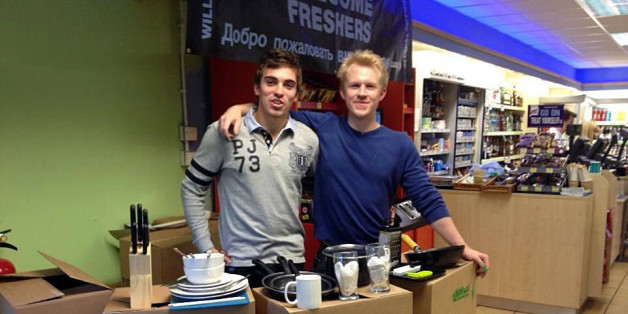 Lancaster University student entrepreneurs Jose Macedo (left) and James Flynn (right) with their Kitchpack kits