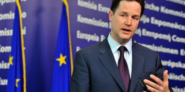 British Deputy Prime Minister Nick Clegg gives a joint press conference with High Representative of the European Union for Foreign Affairs and Security Policy Catherine Ashton and  following their working session on March 2, 2011 at the European Union headquarters in Brussels. AFP PHOTO /  GEORGES GOBET (Photo credit should read GEORGES GOBET/AFP/Getty Images)