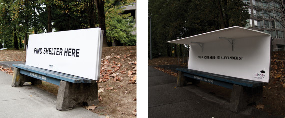 vancouver homeless bus bench
