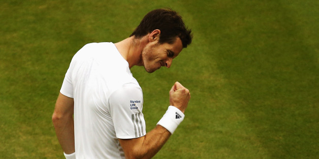 LONDON, ENGLAND - JUNE 30:  Andy Murray of Great Britain celebrates during his Gentlemen's Singles fourth round match against Kevin Anderson of South Africa on day seven of the Wimbledon Lawn Tennis Championships at the All England Lawn Tennis and Croquet Club on June 30, 2014 in London, England.  (Photo by Dan Kitwood/Getty Images)