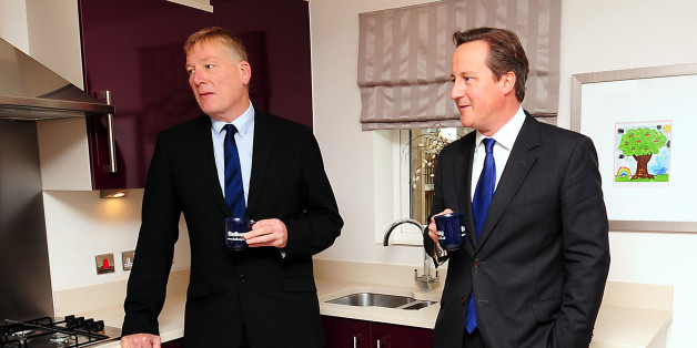 NORTHAMPTON, ENGLAND - OCTOBER 08:  Prime Minister David Cameron and Housing Minister Kris Hopkins meet first time buyers at a showhome, as they visit a housing estate in Weston Favell to launch the Government's 'Help to Buy' scheme on October 8, 2013 in Northampton, England. The scheme will enable eligible first time buyers who can afford only small deposits to buy a home with just a 5% deposit.  (Photo by Rui Vieira - WPA Pool /Getty Images)