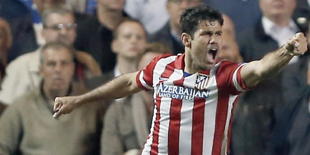 Costa celebrates his goal against Chelsea in the Champions League