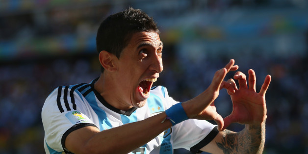SAO PAULO, BRAZIL - JULY 01: Angel di Maria of Argentina celebrates scoring his team's first goal in extra time during the 2014 FIFA World Cup Brazil Round of 16 match between Argentina and Switzerland at Arena de Sao Paulo on July 1, 2014 in Sao Paulo, Brazil.  (Photo by Julian Finney/Getty Images)