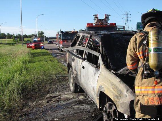bob renning burning car rescue