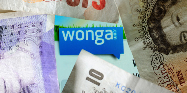 General view of the logo of money lending website Wonga.