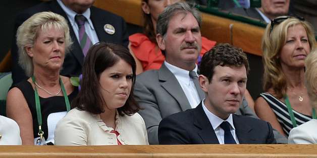 Princess Eugenie and her boyfriend Jack Brooksbank in the Royal Box to watch the Ladies' singles Final during day thirteen of the Wimbledon Championships at the All England Lawn Tennis and Croquet Club, Wimbledon.