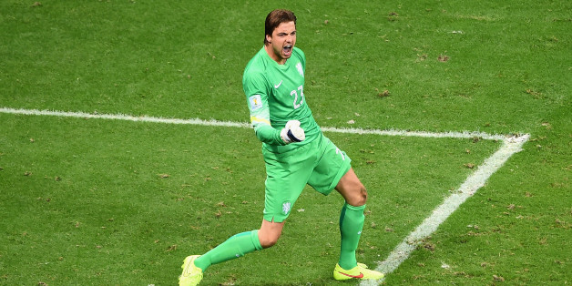 SALVADOR, BRAZIL - JULY 05:  Goalkeeper Tim Krul of the Netherlands celebrates after making a save on a penalty kick by Bryan Ruiz of Costa Rica (not pictured)  during a shootout in the 2014 FIFA World Cup Brazil Quarter Final match between the Netherlands and Costa Rica at Arena Fonte Nova on July 5, 2014 in Salvador, Brazil.  (Photo by Laurence Griffiths/Getty Images)
