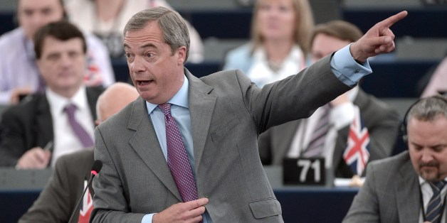 Leader of the UK Independence Party (UKIP) Nigel Farage speaks during a debate on the results of the June 26-27 European Council, on July 2, 2014 at the European Parliament in Strasbourg, eastern France. AFP PHOTO/FREDERICK FLORIN        (Photo credit should read FREDERICK FLORIN/AFP/Getty Images)