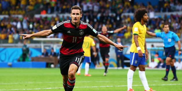 BELO HORIZONTE, BRAZIL - JULY 08:  Miroslav Klose of Germany celebrates scoring his team's second goal during the 2014 FIFA World Cup Brazil Semi Final match between Brazil and Germany at Estadio Mineirao on July 8, 2014 in Belo Horizonte, Brazil.  (Photo by Robert Cianflone/Getty Images)