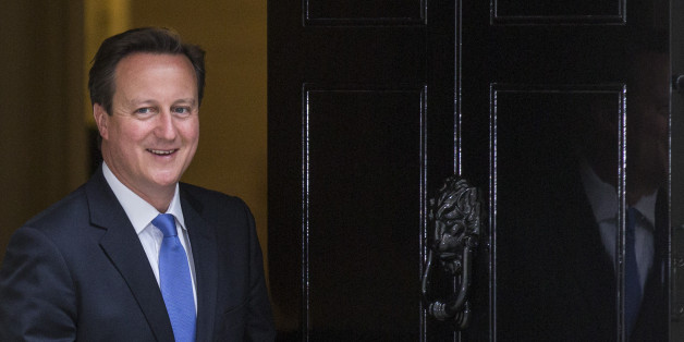 LONDON, ENGLAND - JUNE 23:  British Prime Minster David Cameron leaves 10 Downing Street to greet President of the European Council Herman Van Rompuy on June 23, 2014 in London, England.  The Prime Minister is meeting with the Council President Herman van Rompuy in London to press his case against the appointment of Jean-Claude Juncker as head the European Commission.  (Photo by Rob Stothard/Getty Images)